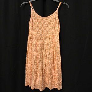 Old Navy-Orange/White pattern Dress w/ mini strap
